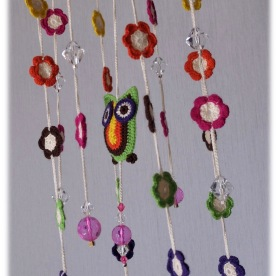 Mobile chouette, perles et fleurs (avril 2015)